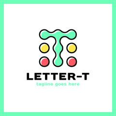 Letter T dots logo design, technology, electronics, digital logotype