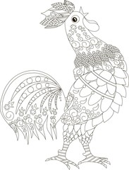 Zentangle stylized cock is crows, black and white hand drawn vector illustration