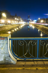 City river scene at night