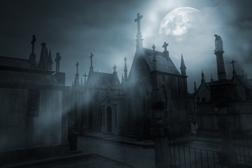 Aluminium Prints Cemetery Cemetery in a foggy full moon night