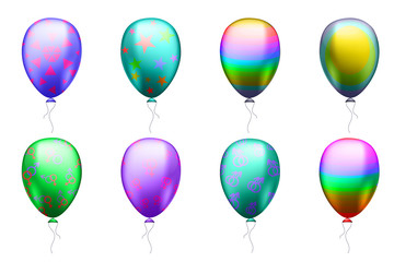 colorful balloons with symbols of the LGBT community