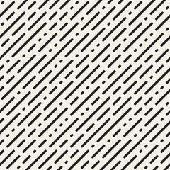 Vector Seamless Black and White Irregular Rounded Dash Diagonal Lines Pattern