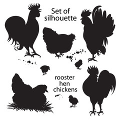 Set of red roosters. Hand-drawn doodle silhouette with gradients