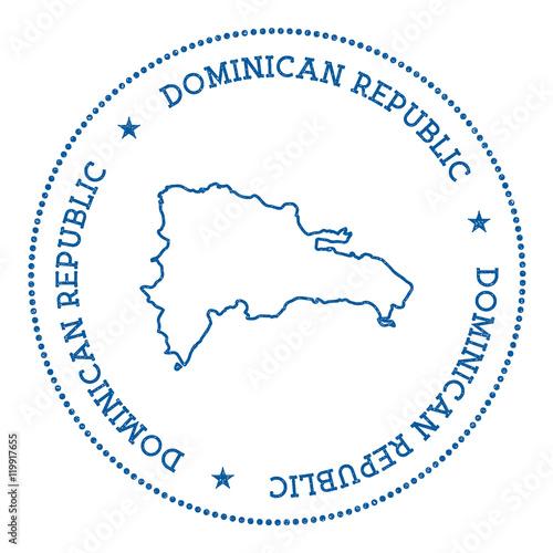 Dominican Republic Vector Map Sticker Hipster And Retro Style - Dominican republic map vector