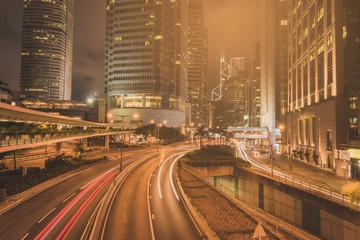 Traffic in city of hongkong at Rush hours