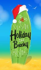 Christmas poster surfboard