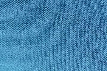 Blue color bath towel texture.