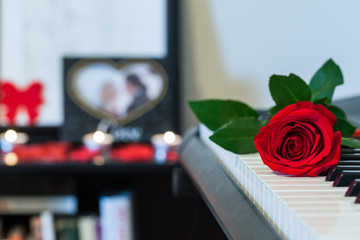 Red rose on piano with couple photo and candles.