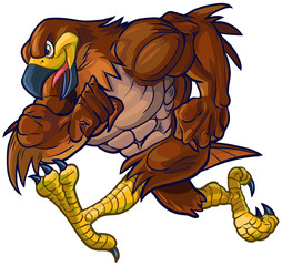 Vector Cartoon Hawk Eagle or Falcon Mascot Running