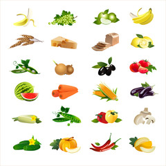 24 food icons set. Vector
