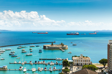 Aerial view of Salvador bay in Bahia, Brazil