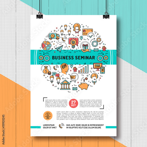 Vector Business Seminar Poster Templates A4 Size. Shopping, E