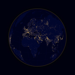 Earth sphere lights of cities Africa, Europe and Asia. Vector