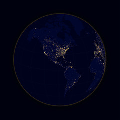Earth sphere lights of cities North and South America. Vector