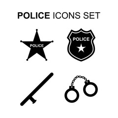 Police icons set. Vector illustration