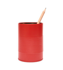 Red office pot with pencil on a white background