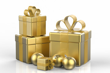 golden gift boxes with christmas balls