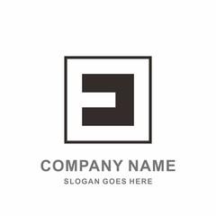 Monogram Letter E Geometric Square Negative Space Vector Logo Design Template