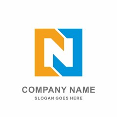 Monogram Letter N Geometric Square Negative Space Vector Logo Design Template