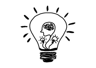 hand drawn Light bulb icon or symbol with concept of idea on white background( electricity and energy).