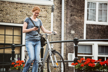 Urban Life - Woman with Bicycle