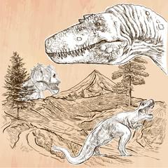 Dinosaurs - An hand drawn vector. Line art.