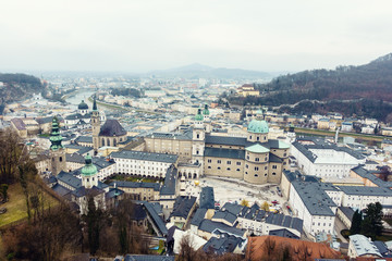 Beautiful aerial view on rooftops of Salzburg,Austria in cloudy