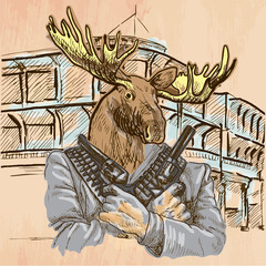 Gunman. Elk - An hand drawn vector. Line art.