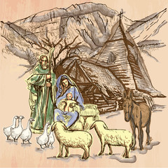 Holy family - An hand drawn vector. Line art.
