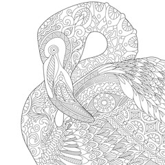 Stylized flamingo bird, isolated on white background. Freehand sketch for adult anti stress coloring book page with doodle and zentangle elements.