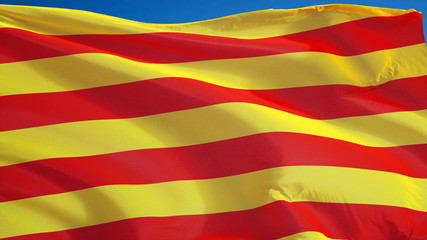 Catalunya flag waving against clean blue sky, close up, isolated with clipping path mask alpha channel transparency