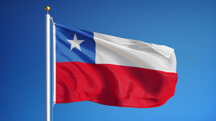 Chile flag waving against clean blue sky, close up, isolated with clipping path mask alpha channel transparency