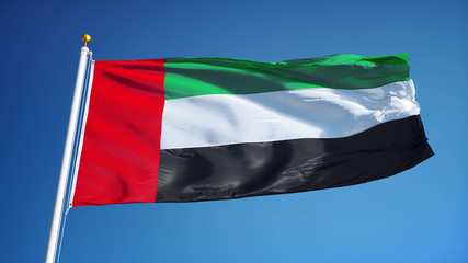 Emirates flag waving against clean blue sky, seamlessly looped close up, isolated with clipping path mask alpha channel transparency