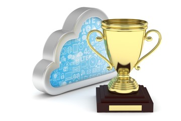 Isoalted golden cup with cloud on white background. Silver contour cloud. Concept of cloud storage competition. Leader cloud drive. Best storage contest. 3D rendering.