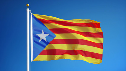 Estelada blava flag waving against clean blue sky, close up, isolated with clipping path mask alpha channel transparency