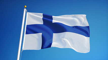 Finland flag waving against clean blue sky, close up, isolated with clipping path mask alpha channel transparency