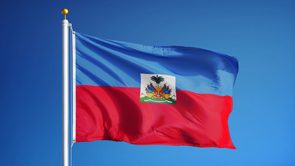 Haiti flag waving against clean blue sky, close up, isolated with clipping path mask alpha channel transparency