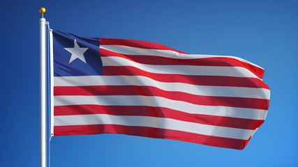Liberia flag waving against clean blue sky, close up, isolated with clipping path mask alpha channel transparency