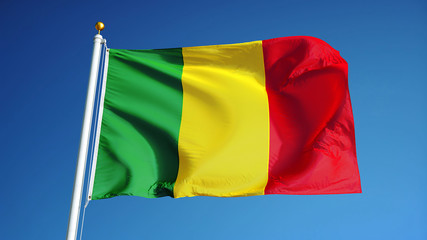 Mali flag waving against clean blue sky, close up, isolated with clipping path mask alpha channel transparency