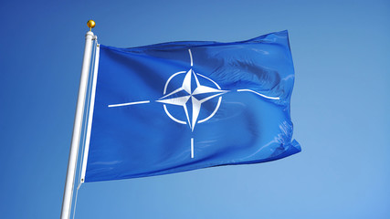 NATO flag waving against clean blue sky, close up, isolated with clipping path mask alpha channel transparency