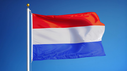 Holland flag waving against clean blue sky, close up, isolated with clipping path mask alpha channel transparency