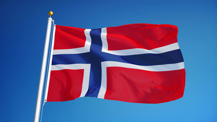 Norway flag waving against clean blue sky, close up, isolated with clipping path mask alpha channel transparency