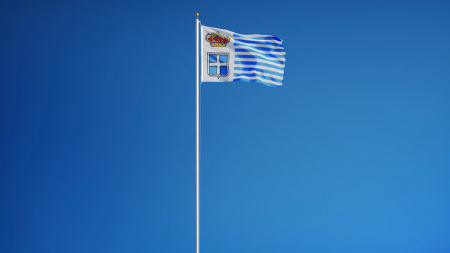 Principality of Seborga flag waving against clean blue sky, long shot, isolated with clipping path mask alpha channel transparency