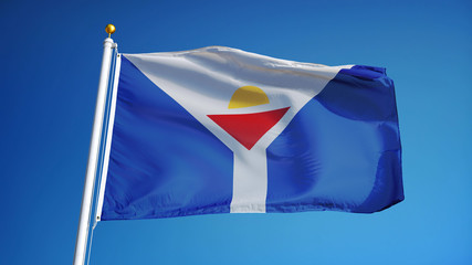 Saint Martin flag waving against clean blue sky, close up, isolated with clipping path mask alpha channel transparency digital composition