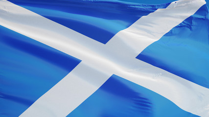 Scotland flag waving against clean blue sky, close up, isolated with clipping path mask alpha channel transparency