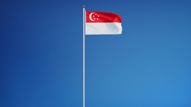 Singapore flag waving against clean blue sky, long shot, isolated with clipping path mask alpha channel transparency