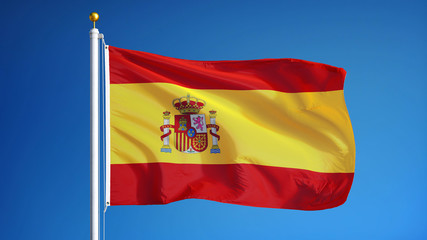 Spain flag waving against clean blue sky, close up, isolated with clipping path mask alpha channel transparency