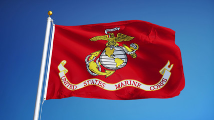 United States Marine Corps flag waving against clean blue sky, close up, isolated with clipping path mask alpha channel transparency