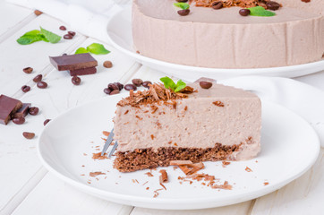 Chocolate mousse cake with coffee