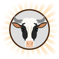 cow cartoon animal picture icon. Circle and colorful design. Vector illustration